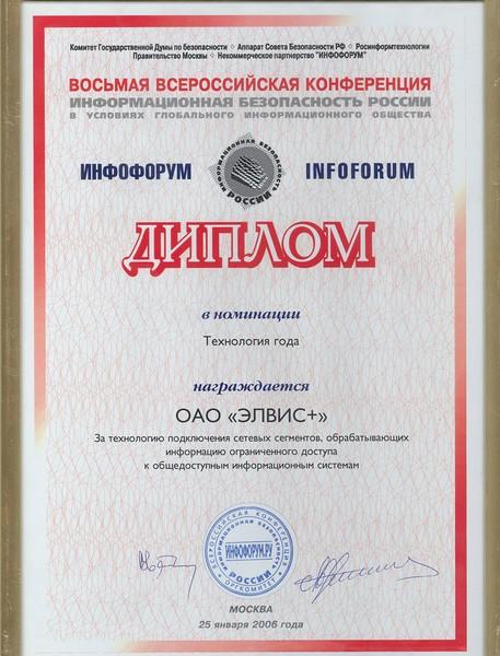 ЭЛВИС ПЛЮС Регалии Диплом за активное участие в работе Национального форума информационной безопасности ИНФОФОРУМ 2006 и диплом